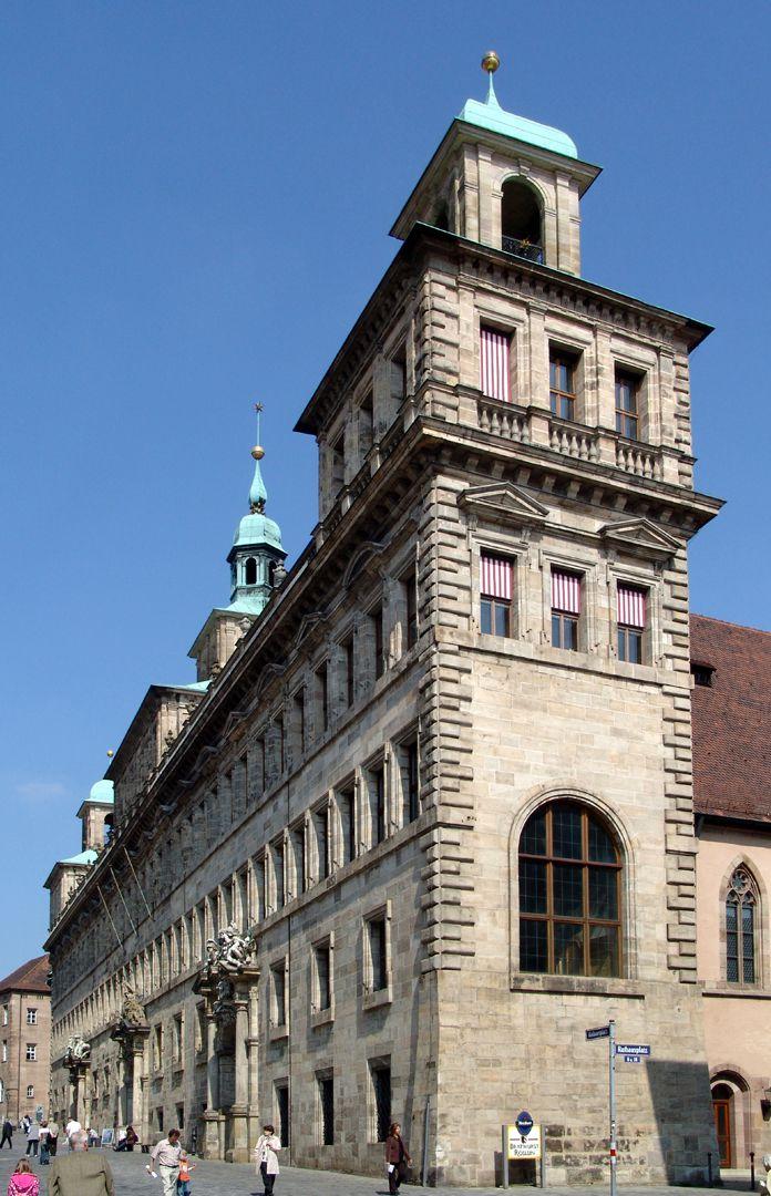 Rathaus, Wolffscher Bau Westfassade von SW, Straßenansicht