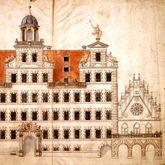 Entwurf für die Rathausfassade nördlich des Saalbaus