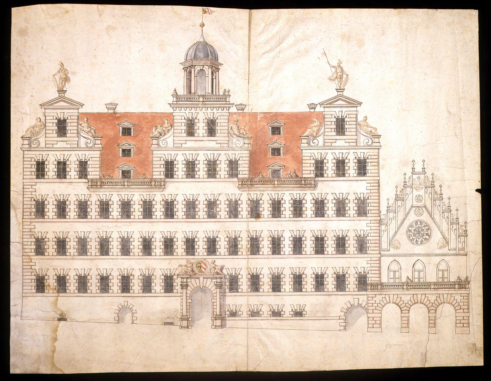 Entwurf für die Rathausfassade nördlich des Saalbaus Entwurf für die Rathausfassade nördlich des Saalbaus