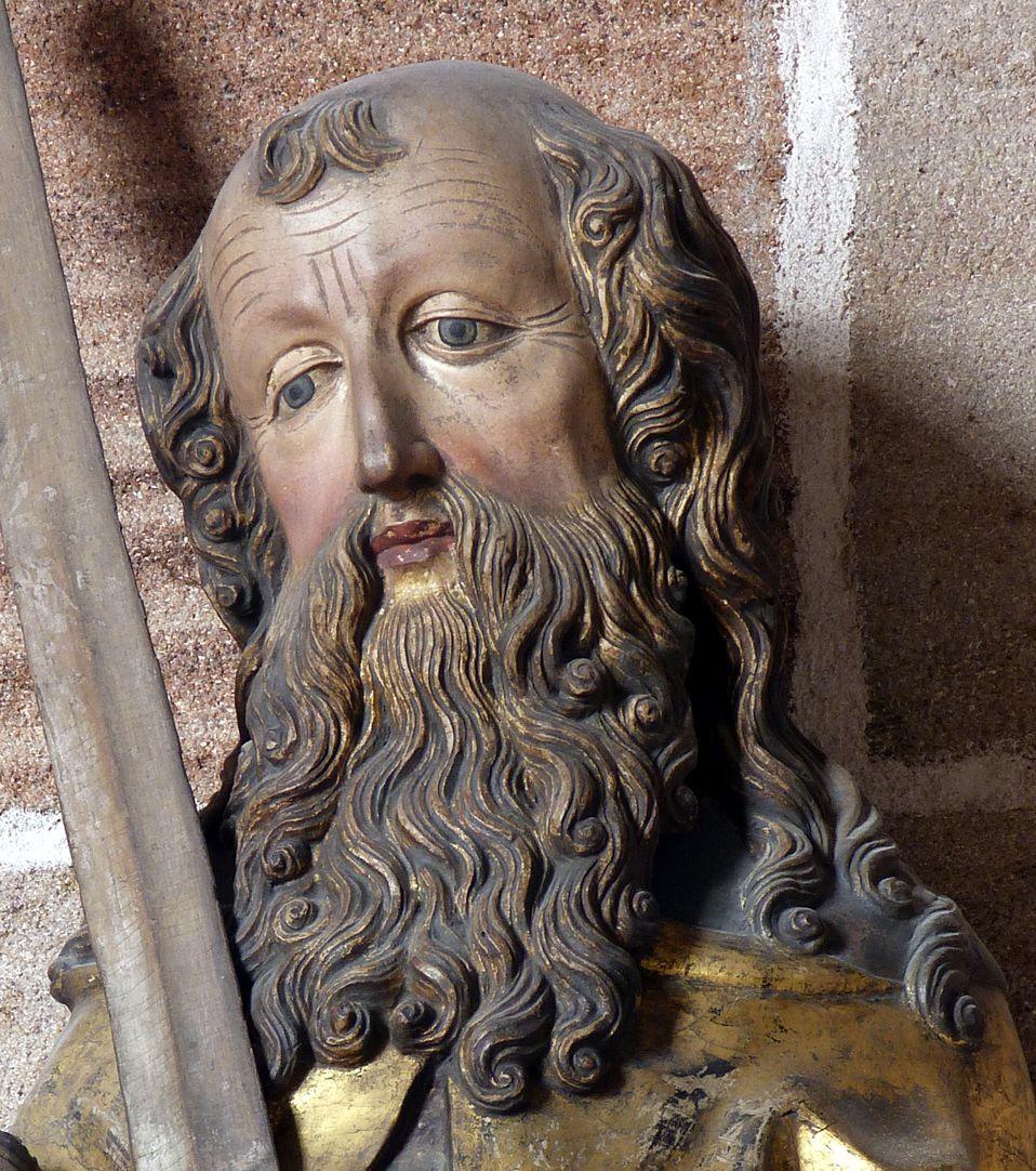 Lindenholzfigur des hl. Paulus Kopf