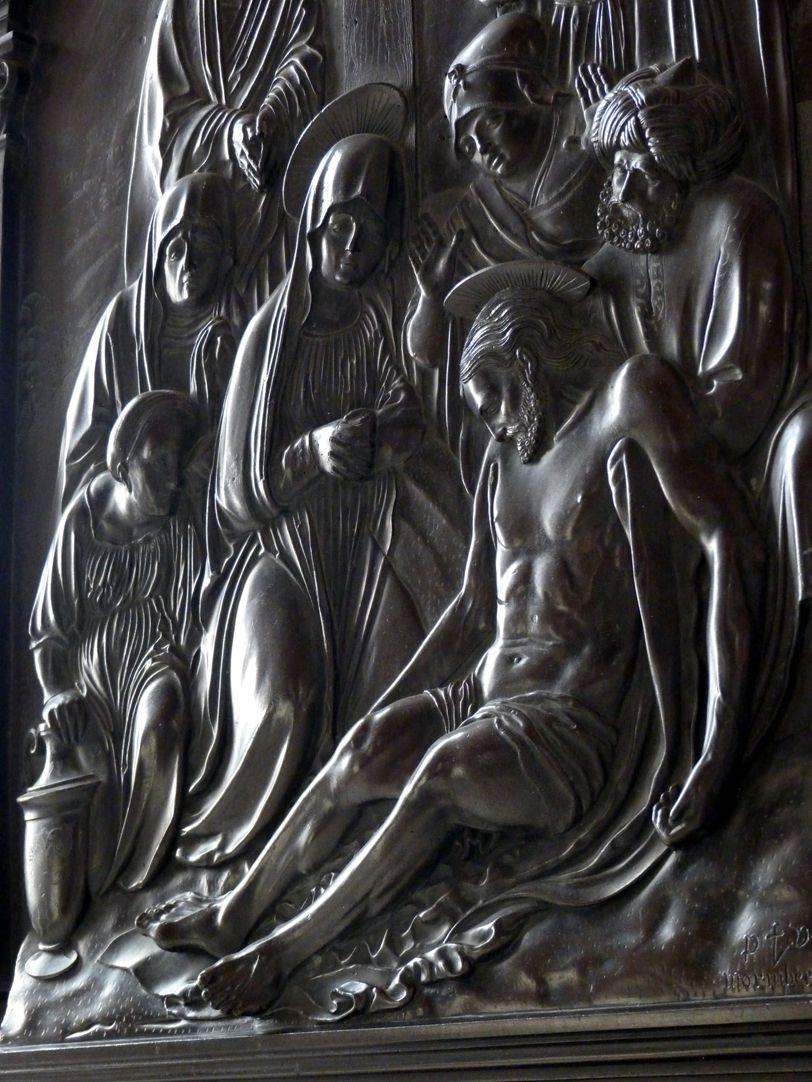 Beweinung Christi: Epitaph Eisen-Behaim Schrägansicht mit Streiflicht