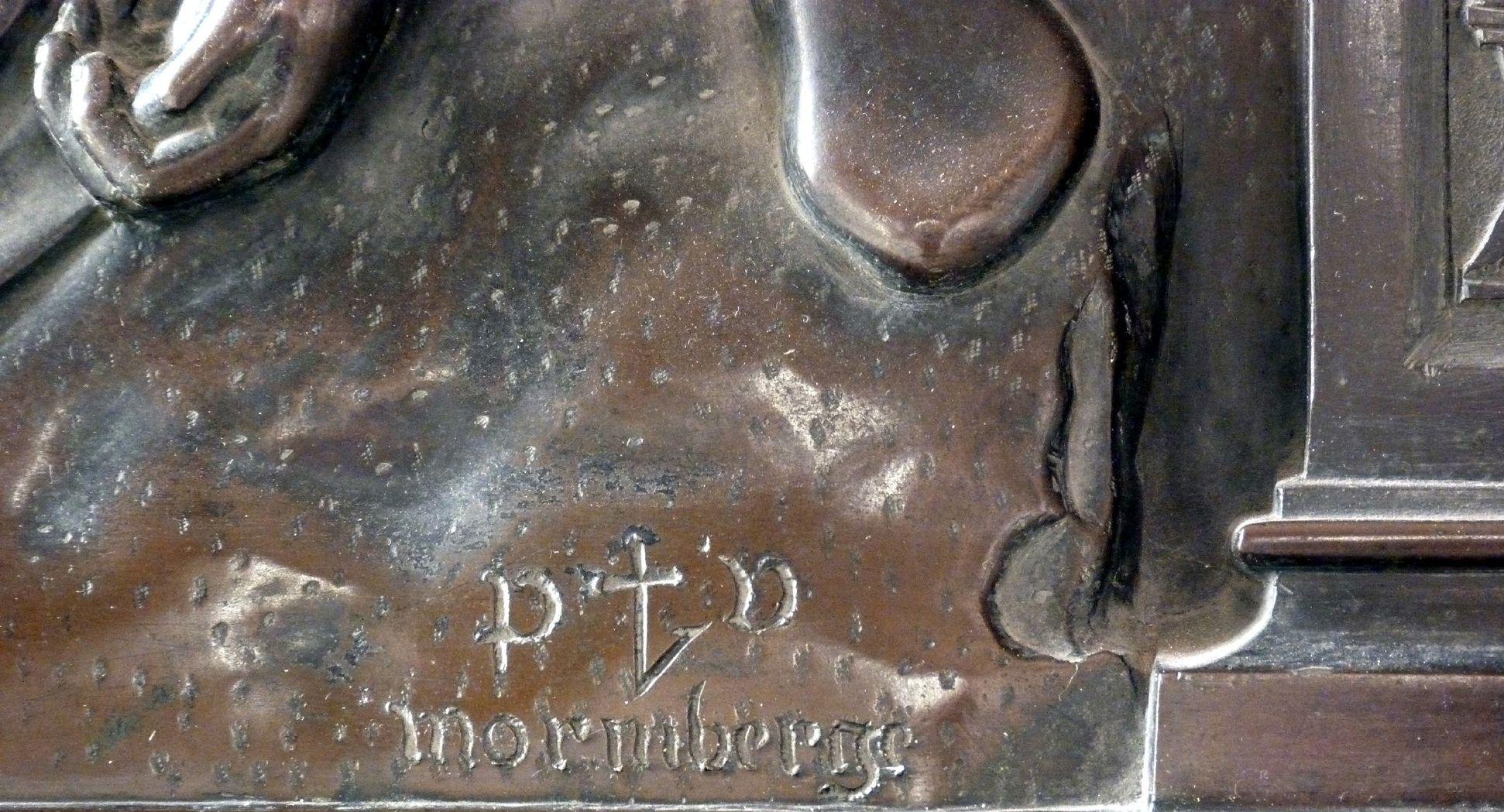 Beweinung Christi: Epitaph Eisen-Behaim rechte untere Bildecke, Meisterzeichen: P V normberge