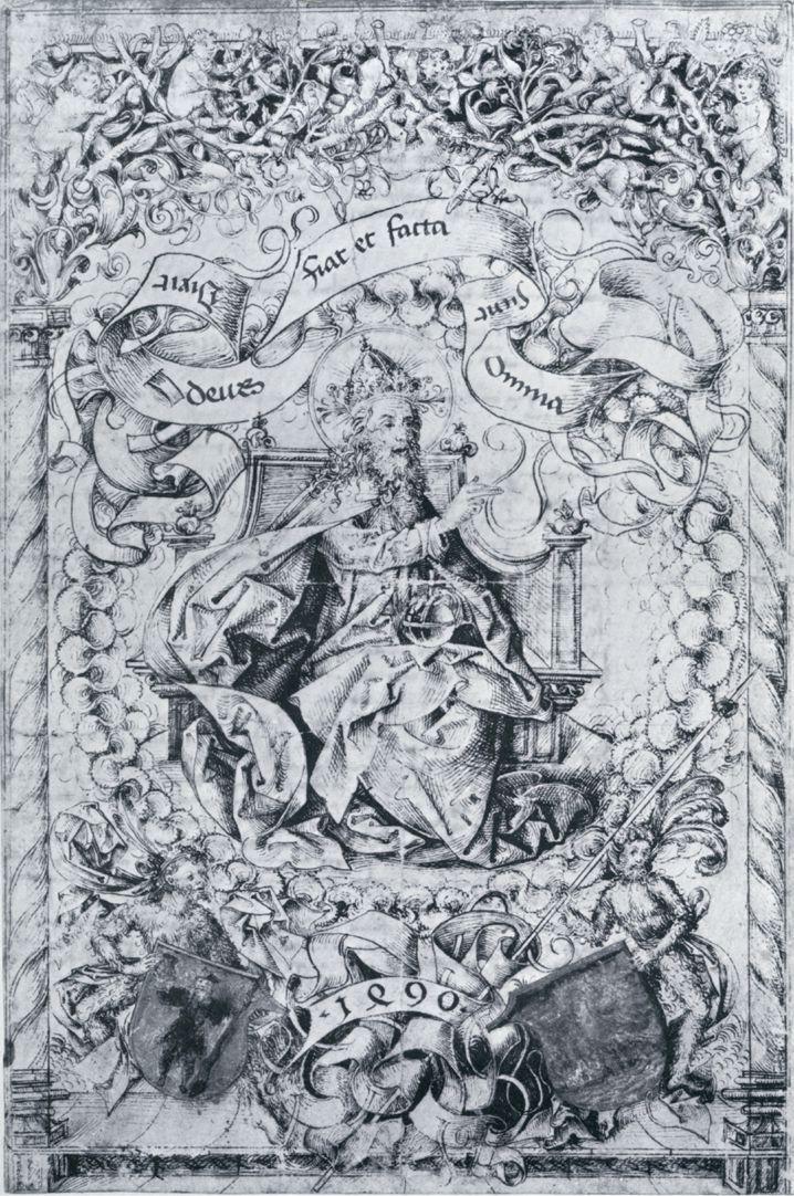 Titelbild der Schedelschen Weltchronik Titelbild der Schedelschen Weltchronik, 1490. Originalzeichnung aus der Werkstatt von Michael Wolgemut