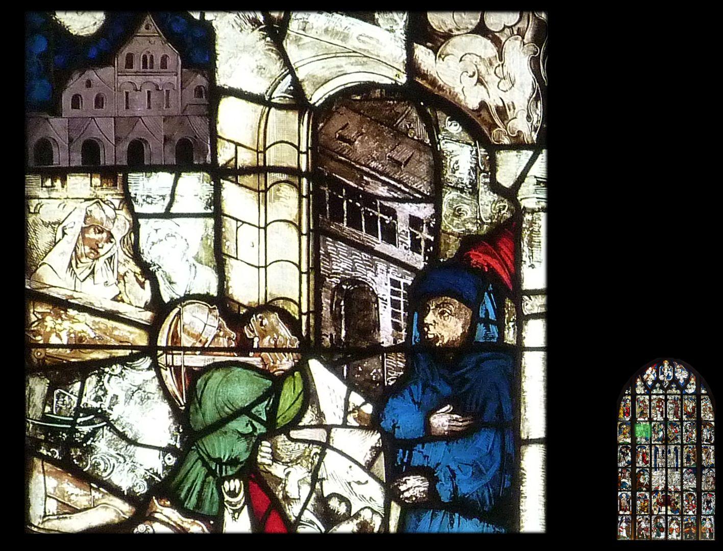 Kaiserfenster Einzug Konstantins in Rom, Detail mit Stadttor