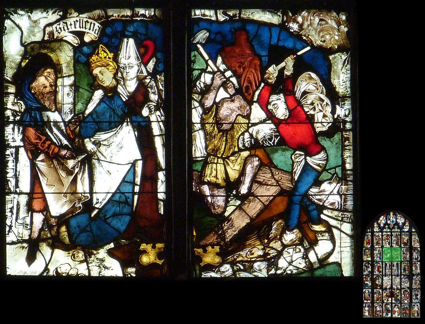 Kaiserfenster Helena findet das wahre Kreuz (um 325)