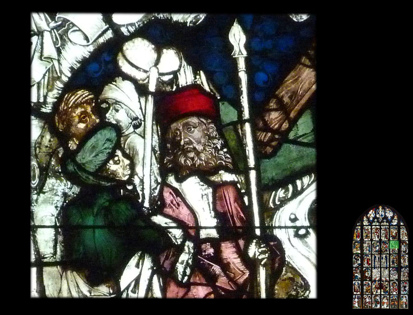 Kaiserfenster Übergabe des Kreuzes an Kaiserin Helena, Detail mit dem Trägern des Stabes mit dem Essigschwamm und der heiligen Lanze