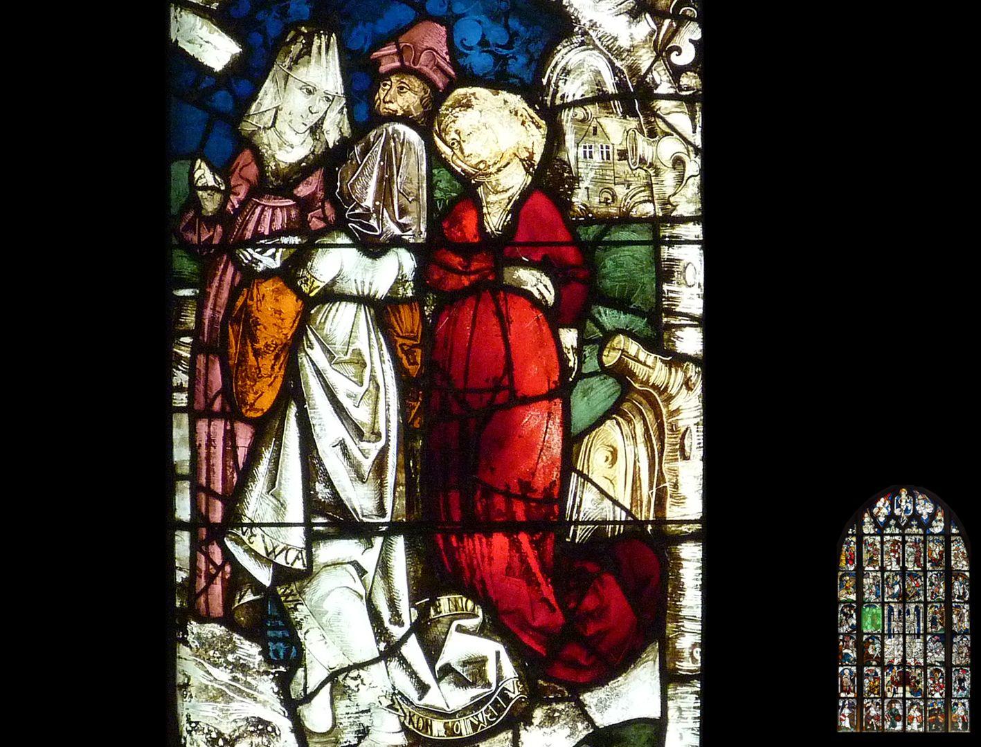 Kaiserfenster Kreuzprobe, zwei Hofdamen mit burgundischer Haube