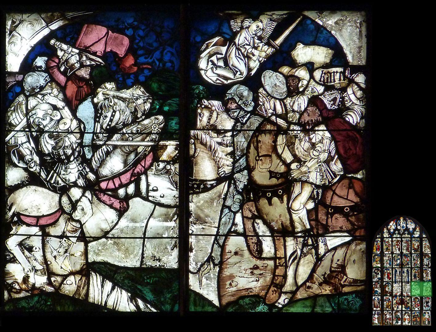 Kaiserfenster Schlacht Kaiser Karls des Großen gegen die Hunnen bei Regensburg