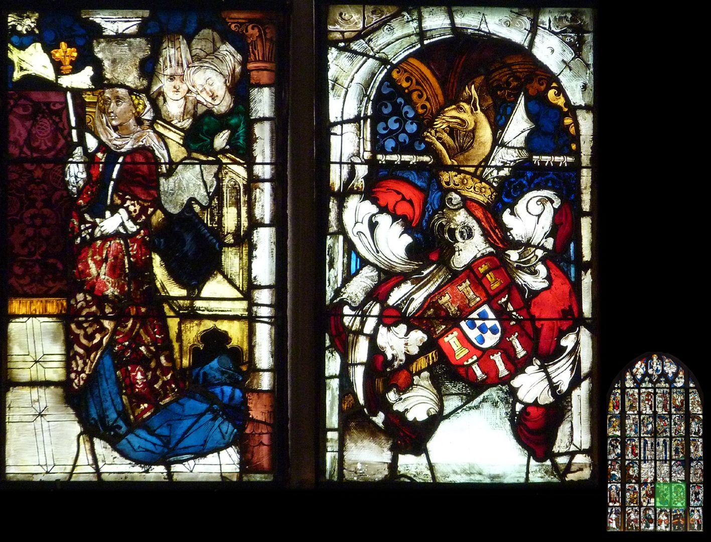 Kaiserfenster Kaisergemahlin Eleonore von Portugal mit Wappen Portugals