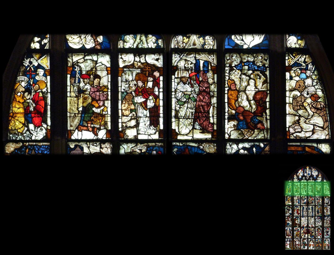 Kaiserfenster 6. Zeile: Darstellung der Silvester-Konstantin Legende