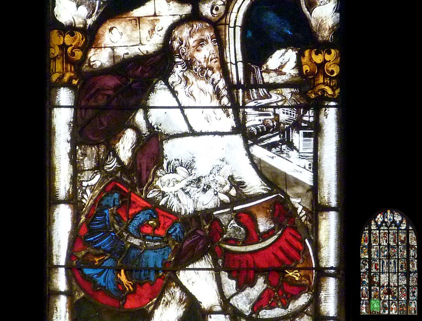 Kaiserfenster Wilder Mann mit den Wappen Herzogtum Krain und der Grafschaft Tirol, Detail