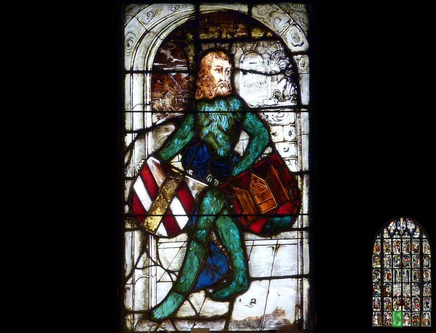 Kaiserfenster Wilder Mann mit zwei Wappenschilden