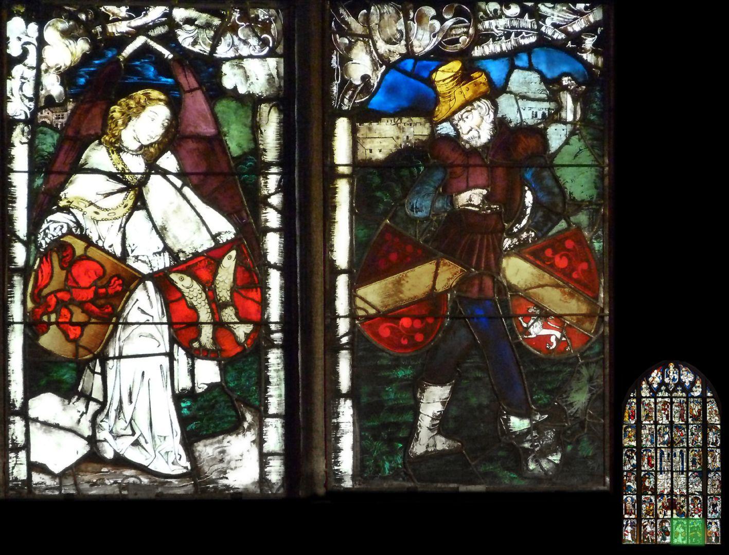 Kaiserfenster Engel und Schildknappe mit Wappenschilden