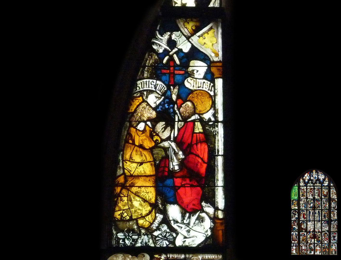 Kaiserfenster Silvester weist Konstantin das Kreuzzeichen
