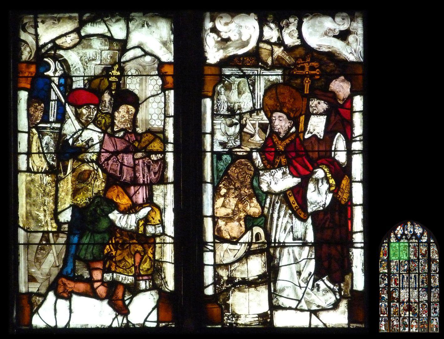 Kaiserfenster Taufe Kaisers Konstantins, links weltliche Würdenträger