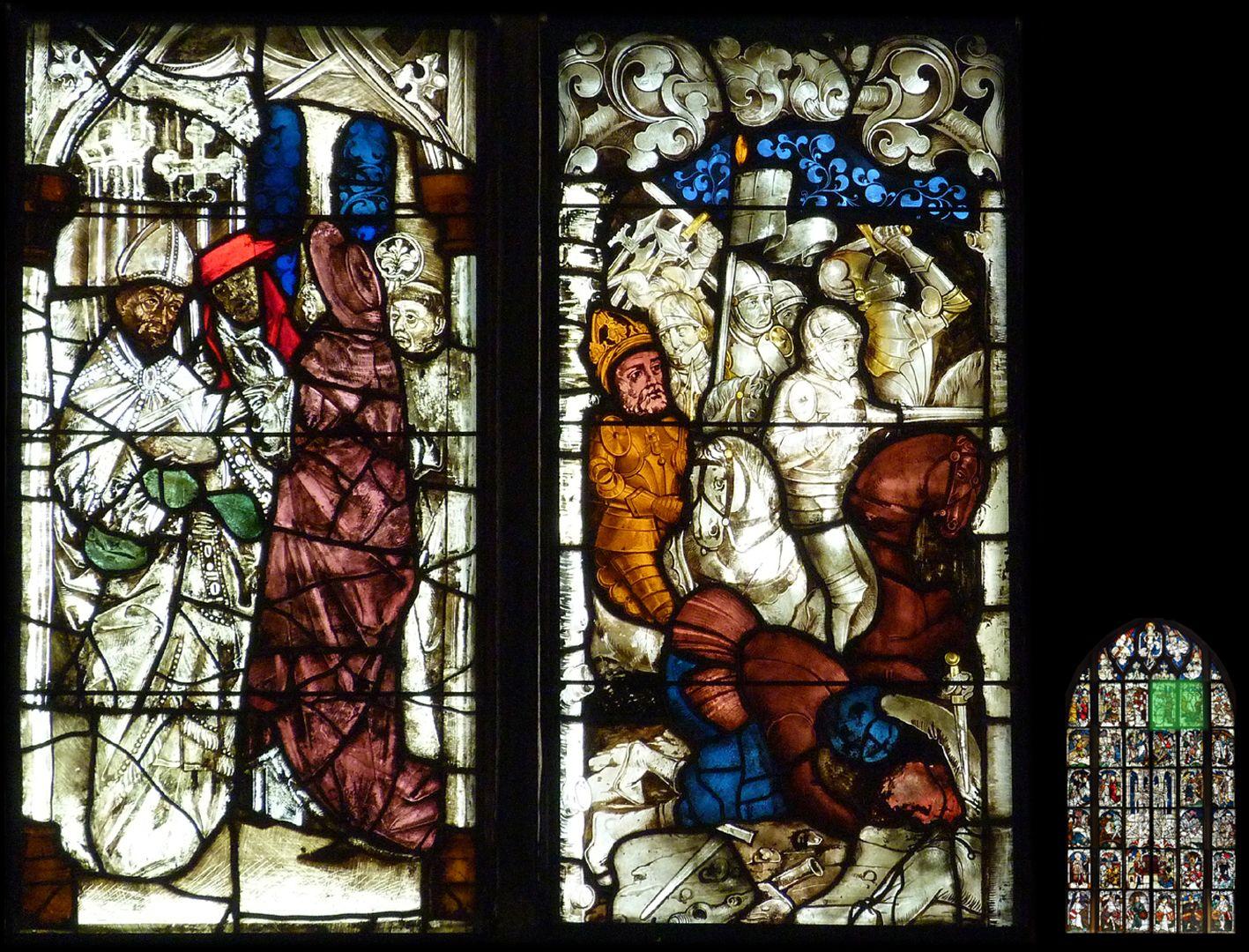 Kaiserfenster links geistliche Würdenträger der Taufszene, rechts siegreiche Schlacht an der Milvischen Brücke im Jahre 312
