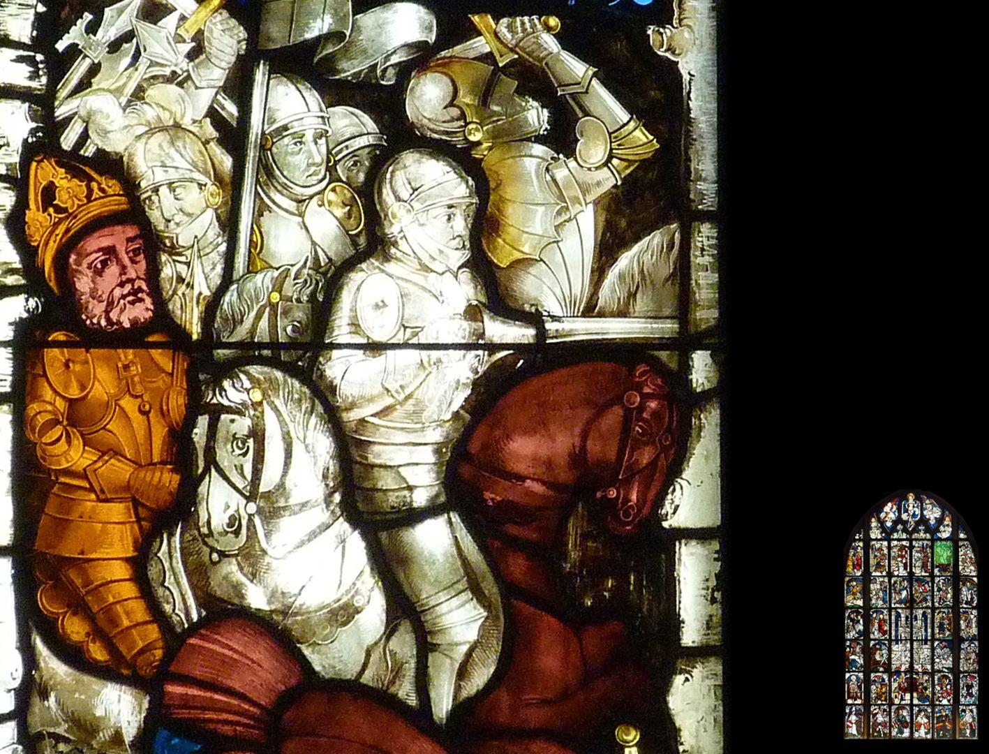 Kaiserfenster siegreiche Schlacht an der Milvischen Brücke im Jahre 312, Detail