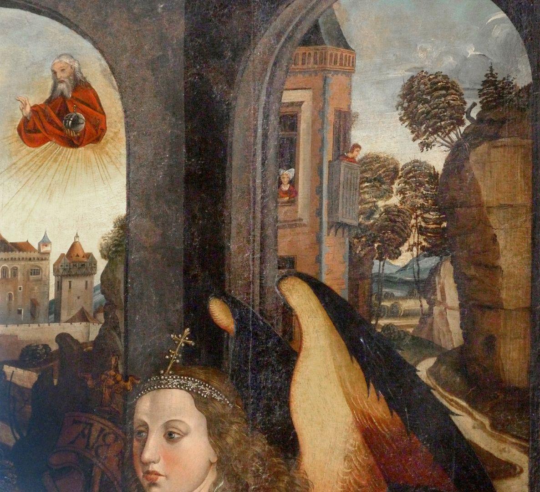 Ständetafel und Verkündigungsengel Außenseite, oberes Drittel, Detail mit Gottvater bzw. Balkonszene